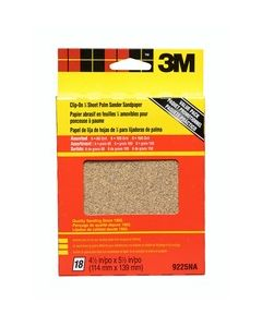 3M™ All Purpose Palm Sandpaper Sheets 9225NA, 4.5 in x 5.5 in, Asst. grit
