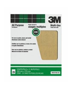 3M™ Pro-Pak™ Aluminum Oxide Sheets for Paint and Rust Removal, 9 in x 11 in, 220 grit, Open Stock