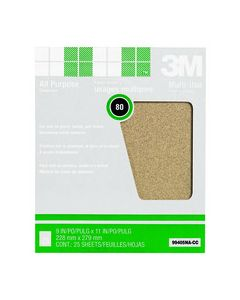 3M™ Pro-Pak™ Aluminum Oxide Sheets for Paint and Rust Removal, 9 in x 11 in, 80 grit, Open Stock