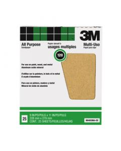 3M™ Pro-Pak™ Aluminum Oxide Sheets for Paint and Rust Removal, 9 in x 11 in, 120 grit, Open Stock