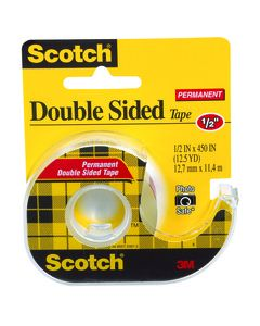 Scotch® Permanent Double Sided Tape 137, 1/2 x 450in Roll in Refillable Dispenser