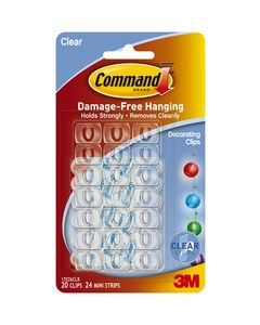 Command™ Clear Decorating Clips with Clear Strips 17026CLR-ES