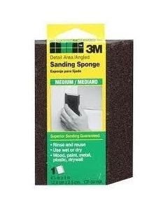 3M™ Detail Area and Angled Sanding Sponge CP041, 4.875 in x 2.875 in x 1 in, Medium