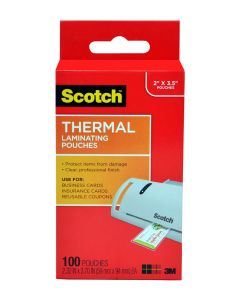 Scotch™ Thermal Pouches TP5851-100, 2.32 in x 3.70 in (59 mm x 94 mm) Business Card 100 pack