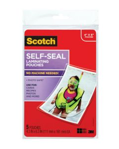 Scotch™ Self-Sealing Laminating Pouches PL900G, 4.3 in x 6.3 in (111 mm x 161 mm)