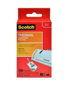 Scotch™ Thermal Pouches TP5852-100, 2.4 in x 4.2 in (63 mm x 107 mm) ID badge without clip