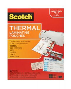 """Scotch™ Thermal Pouches TP-8000-VP, Variety Pack of letter size, 4""""x6"""" size, and wallet size pouches"""