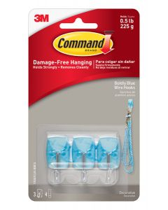 Command™ Boldly Blue Small Wire Hooks with Clear Strips 17067CLR-BBES