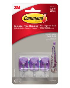 Command™ Purely Purple Small Wire Hooks with Clear Strips 17067CLR-VES