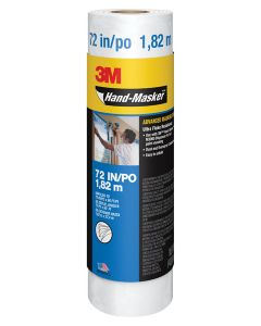 3M™ Hand-Masker™ Advanced Masking Film, AMF72-8C, 72 in x 90 ft x .35 mil (1.82 m x 27.4 m x .00889 mm), 8/Case
