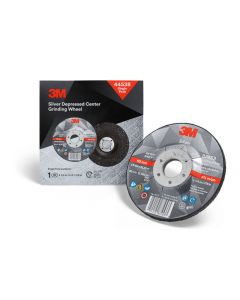 3M™ Silver Depressed Center Grinding Wheel, 44538, T27, 4.5 in x 1/4 in x 7/8 in, Single Pack, 10 per case