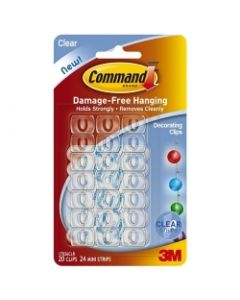 Command™ Clear Decorating Clips w/Clear Strips 17026CLR-CS