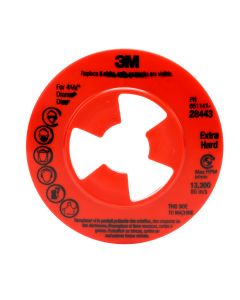 """3M™ Disc Pad Face Plate Ribbed 28443, 4-1/2"""" Extra Hard Red"""