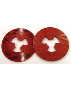 3M™ Disc Pad Face Plate Ribbed 81732L, 5 in Extra Hard Red