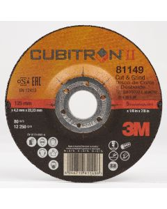 3M™ Cubitron™ II Cut and Grind Wheel T27 28758, 6 in x 1/8 in x 7/8 in, 10 per inner, 20 per case