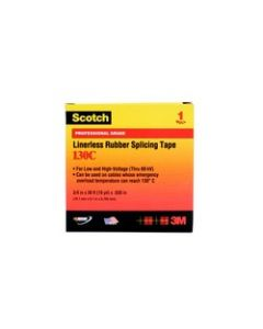 Scotch® Linerless Rubber Splicing Tape 130-1x10FT, 1 in x 10 ft (25 mm x 3 m)