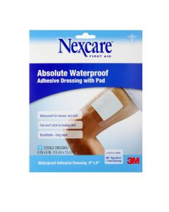 Nexcare™ Absolute Waterproof Adhesive Dressing with Pad W3588, 6 in x 6 in