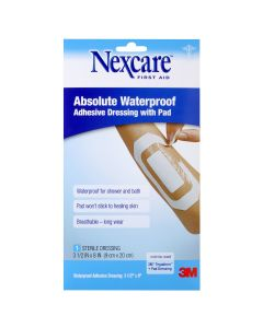Nexcare™ Absolute Waterproof Adhesive Dressing with Pad W3590, 3 1/2 in x 8 in